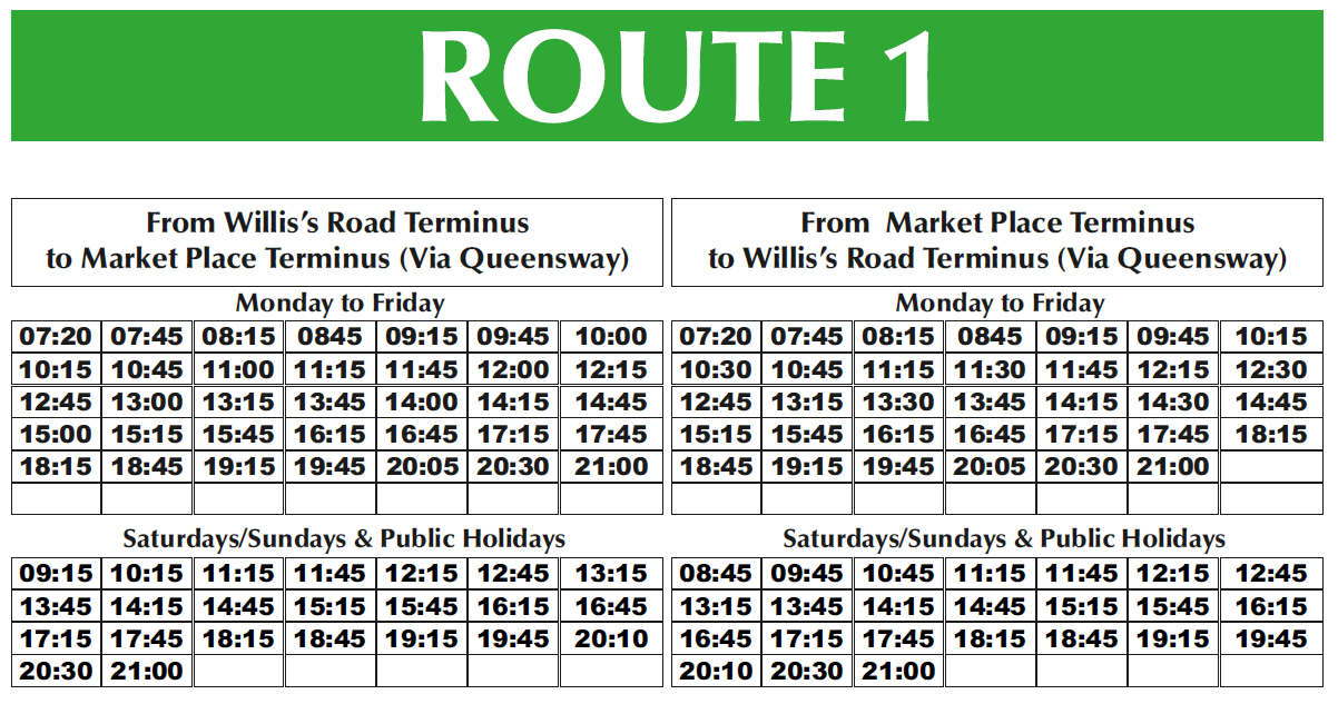 Gibraltar Bus Company - Route Timings Bus