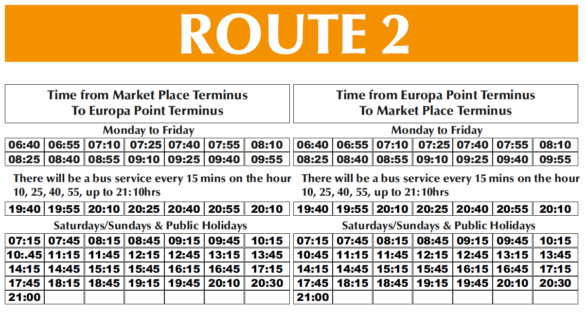 gibraltar bus company - route timings